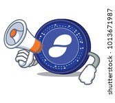 with megaphone status coin... | Shutterstock .eps vector #1013671987