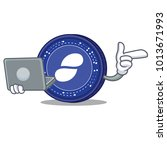 with laptop status coin... | Shutterstock .eps vector #1013671993
