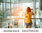 young woman pulling suitcase in ... | Shutterstock . vector #1013705233