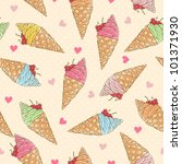 Colorful ice-cream seamless pattern - stock vector