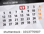 Small photo of Paper calendar date 1 month March 2018