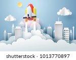 paper art of space shuttle... | Shutterstock .eps vector #1013770897