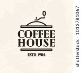 coffee house logo line style on ... | Shutterstock . vector #1013781067