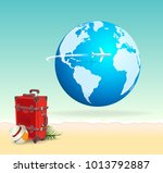 red vacation travel suitcase on ... | Shutterstock . vector #1013792887