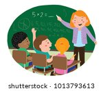 Vector cartoon editorial illustration of mathematics class with teacher writing on the board and students listening | Shutterstock vector #1013793613
