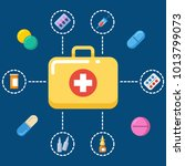 first aid kit concept  ... | Shutterstock .eps vector #1013799073