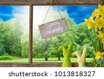 window  easter bunny  spring... | Shutterstock . vector #1013818327
