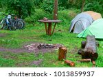 campground  cyclists on a... | Shutterstock . vector #1013859937