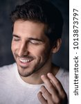 close up portrait of a laughing ... | Shutterstock . vector #1013873797