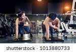 fitness young people doing... | Shutterstock . vector #1013880733