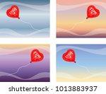 i love u balloon flying. the... | Shutterstock .eps vector #1013883937