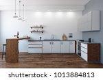 modern kitchen interior with... | Shutterstock . vector #1013884813