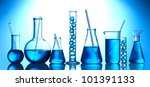 test tubes with blue liquid on... | Shutterstock . vector #101391133
