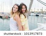 two attractive girlfriends...   Shutterstock . vector #1013917873