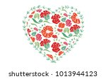 red heart shape with floral... | Shutterstock .eps vector #1013944123