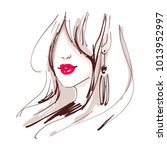 beautiful woman with red lips... | Shutterstock .eps vector #1013952997