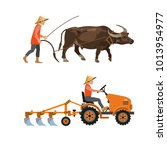 plowing with cattle and farm... | Shutterstock .eps vector #1013954977
