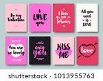 valentines greeting card set... | Shutterstock . vector #1013955763