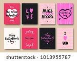 valentines greeting card set... | Shutterstock . vector #1013955787