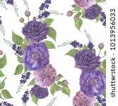 seamless watercolor hand... | Shutterstock . vector #1013956033