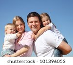 happy young family with two... | Shutterstock . vector #101396053