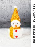 snowman wearing gold  hat and... | Shutterstock . vector #1013974513