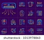 linear icons set of hotel... | Shutterstock . vector #1013978863