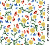floral embroidery seamless... | Shutterstock .eps vector #1014004687