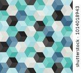 hexagon grid seamless vector... | Shutterstock .eps vector #1014018943