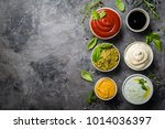 selection of different sauces... | Shutterstock . vector #1014036397