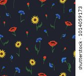 floral embroidery seamless... | Shutterstock .eps vector #1014059173