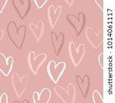 seamless heart pattern. ink... | Shutterstock .eps vector #1014061117