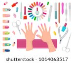 female hands with pink nails... | Shutterstock .eps vector #1014063517