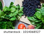 fresh vegetables and fruits... | Shutterstock . vector #1014068527