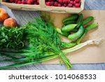 fresh vegetables and fruits... | Shutterstock . vector #1014068533