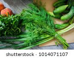 fresh vegetables and fruits... | Shutterstock . vector #1014071107