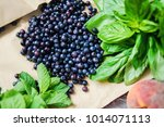 fresh vegetables and fruits... | Shutterstock . vector #1014071113