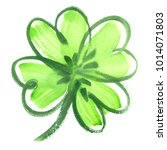 bright green four leaf shamrock ...   Shutterstock . vector #1014071803
