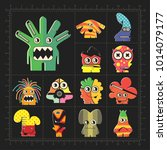 cute colorful monsters on black.... | Shutterstock .eps vector #1014079177