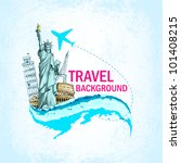 vector illustration of statue of liberty and eiffel tower showing traveling - stock vector