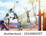 professional female volleyball... | Shutterstock . vector #1014084337