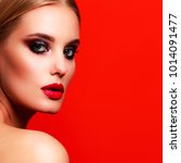 closeup portrait of beautiful... | Shutterstock . vector #1014091477