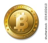 realistic 3d golden bitcoin... | Shutterstock . vector #1014102613