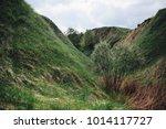 green grass covers hills under...   Shutterstock . vector #1014117727