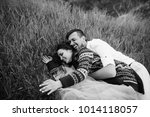 happy newlyweds have fun lying...   Shutterstock . vector #1014118057