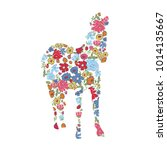 abstract hand painted animal.... | Shutterstock .eps vector #1014135667