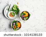 lunch salad with spinach  sweet ... | Shutterstock . vector #1014138133