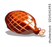 ham whole close up. smoked meat ... | Shutterstock .eps vector #1014141493