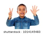 adorable child counting with... | Shutterstock . vector #1014145483