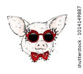 pig in glasses and a tie with... | Shutterstock .eps vector #1014149887